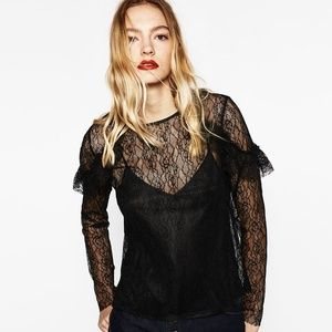 NWOT Zara Size S Frilled Black Lace Top
